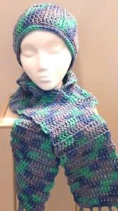 2013-11-30 Crocheted Scarf - Blue Aqua Purple Ocean 2