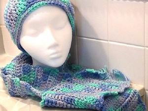 2013-11-30 Crocheted Scarf - Blue Aqua Purple Ocean 3