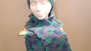 2013-11-30 Crocheted Scarf - Blue Aqua Purple Ocean