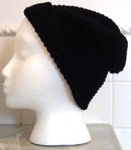 Black Slouch Crocheted Hat 3