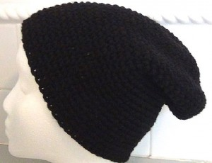Black Slouch Crocheted Hat
