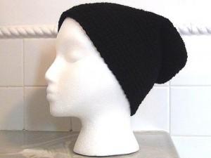 Black Slouch Crocheted Hat 5