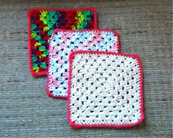 Crochet Granny Square Dishcloth Pattern : Crochet Cotton Dishcloths Granny Square Mainely Handcrafts