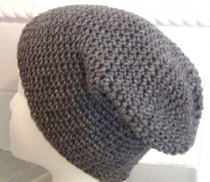 Crocheted Hat - Gray Slouch 2