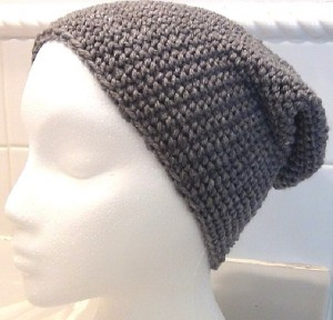 Crocheted Hat - Gray Slouch 3