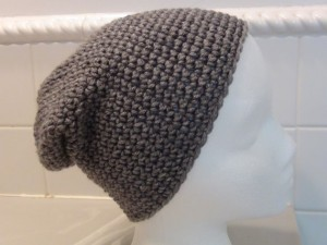 Crocheted Hat - Gray Slouch