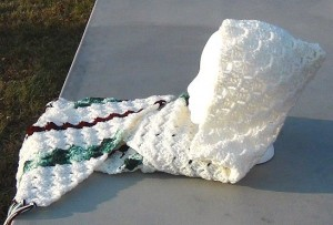 Hooded Scarf - White with Maroon and Green Stripes 5