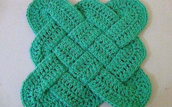 Hot Pad Trivet Celtic Knot Design Green Mainely Handcrafts