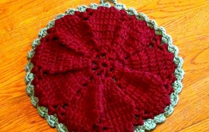 Hot Pad - Trivet Holiday or Any Day - Maroon and Sage