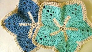 Washcloth Starfish - Set of 2 - Sky Blue Ocean Blue