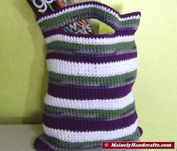 Crochet Small Tote Bag Pattern : Crocheted Bag ? Small Cotton Tote ? Purple, Green, White ...