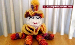 Spiral Doll - Colorful Clown - Clown Doll - spiralling arms and legs - purple, orange, yellow, red 2