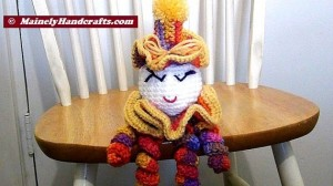 Spiral Doll - Colorful Clown - Clown Doll - spiralling arms and legs - purple, orange, yellow, red 3