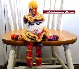 Spiral Doll - Colorful Clown - Clown Doll - spiralling arms and legs - purple, orange, yellow, red 5