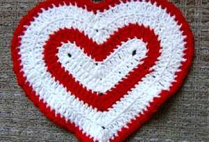 Valentines Day Heart Washcloth - Set of 2 - Red and White 2