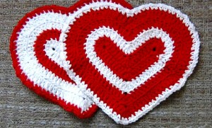 Valentines Day Heart Washcloth - Set of 2 - Red and White 3