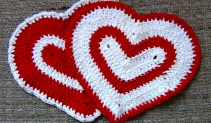 Valentines Day Heart Washcloth - Set of 2 - Red and White