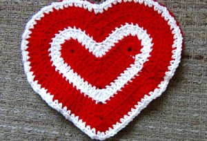 Valentines Day Heart Washcloth - Set of 2 - Red and White 4