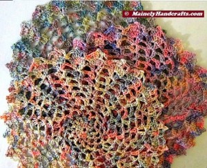 Crocheted Doily - Set of 3 - Spring colors - Pink, Green, Yellow 3