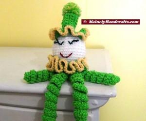 Green Crochet Clown - Spiral Clown Doll - St Patricks Day 2