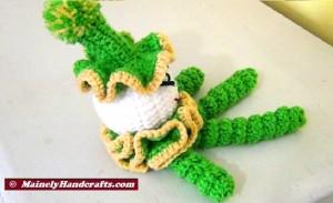 Green Crochet Clown - Spiral Clown Doll - St Patricks Day 5