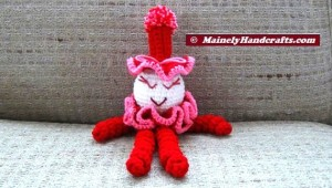 Valentines Clown - Spiral Clown Doll - Red and Pink 3