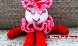 Valentines Clown - Spiral Clown Doll - Red and Pink