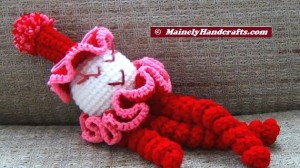 Valentines Clown - Spiral Clown Doll - Red and Pink 5