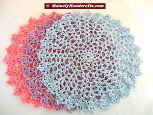 Crocheted Doily - Set of 3 - Spring colors - Pink, Blue, Purple 4