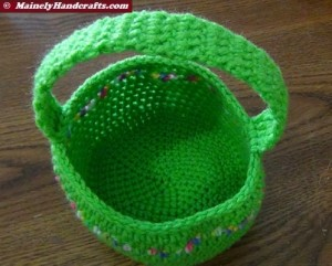 Crocheted Easter Basket - Bright Spring Basket - Green with variegated stripe 2