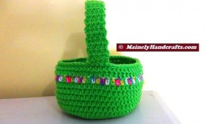 Crocheted Easter Basket - Bright Spring Basket - Green with variegated stripe 3
