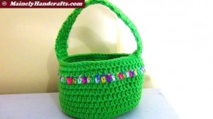 Crocheted Easter Basket - Bright Spring Basket - Green with variegated stripe 4