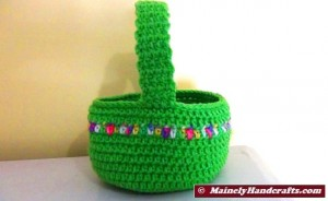 Crocheted Easter Basket - Bright Spring Basket - Green with variegated stripe 5