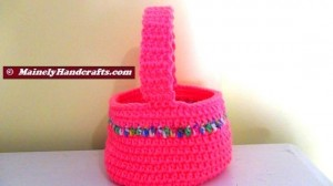 Easter Basket - Crocheted Bright Spring Basket - Pink with variegated stripe 3