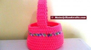 Easter Basket - Crocheted Bright Spring Basket - Pink with variegated stripe