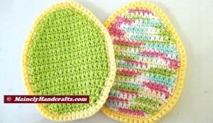 Easter Egg Pot Holders = Trivets - Green Easter Pot Holders - Spring Pot Holders = Hot Pads - Green = Variegated - Crochet Cotton Set of 2 3