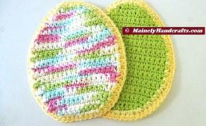 Easter Egg Pot Holders = Trivets - Green Easter Pot Holders - Spring Pot Holders = Hot Pads - Green = Variegated - Crochet Cotton Set of 2