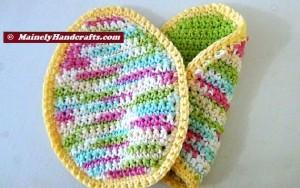 Easter Egg Pot Holders = Trivets - Green Easter Pot Holders - Spring Pot Holders = Hot Pads - Green = Variegated - Crochet Cotton Set of 2 5