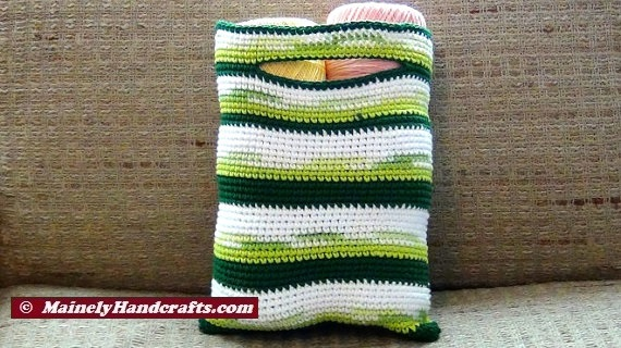 Crochet Small Tote Bag Pattern : Green Striped Crocheted Bag ? Small Cotton Market Tote ...