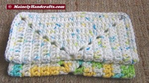 Crochet Dishcloth - Crochet Washcloth - Pure cotton, White Yellow Blue Green Variegated - Eco-friendly 8-inch square 3