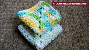 Crochet Dishcloth - Crochet Washcloth - Pure cotton, White Yellow Blue Green Variegated - Eco-friendly 8-inch square
