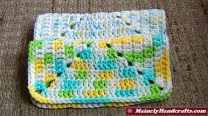 Crochet Dishcloth - Crochet Washcloth - Pure cotton, White Yellow Blue Green Variegated - Eco-friendly 8-inch square 4