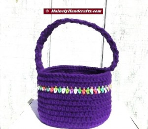 Easter Basket - Crochet Basket for Spring - Purple Basket 2