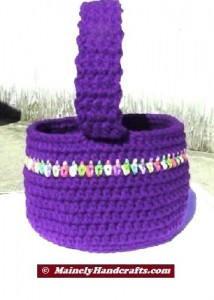 Easter Basket - Crochet Basket for Spring - Purple Basket 3