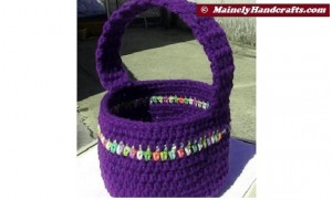 Easter Basket - Crochet Basket for Spring - Purple Basket