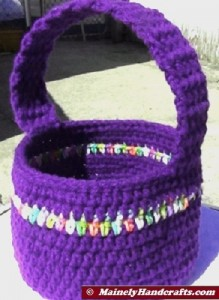 Easter Basket - Crochet Basket for Spring - Purple Basket 4