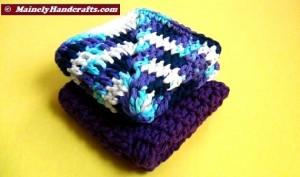 Crochet Dish Cloth - Crochet Wash Cloth - Cotton Face Cloth - Set of 2 2