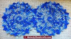 Doilies - Crochet Doilies - Blue Doilies - Table Doily set of 2