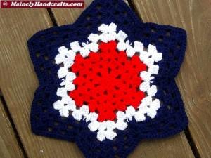 Patriotic Star Doily - Red, White, and Blue Granny Star - Handmade Crochet Doily 2
