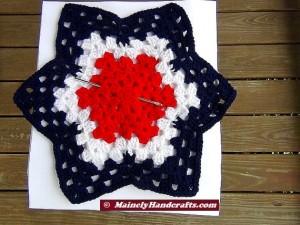 Patriotic Star Doily - Red, White, and Blue Granny Star - Handmade Crochet Doily 3